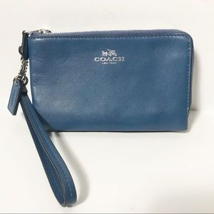 Coach Blue Double Zipper Wristlet Wallet